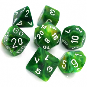 Green & White Phantom Polyhedral 7 Dice Set